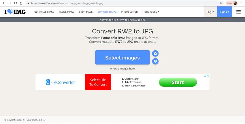 convert RW2 to JPG format