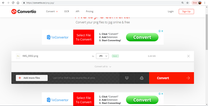 PNG to JPG convert free-Convertio