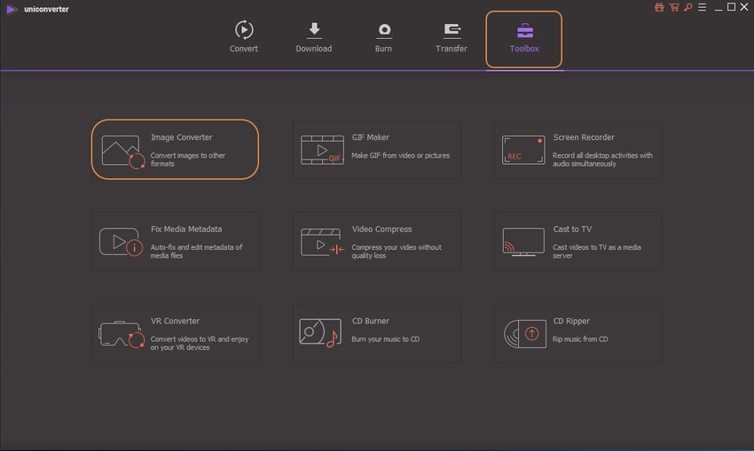 choose Toolbox and image converter-UniConverter
