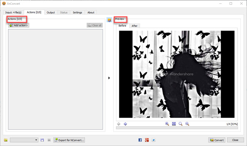 apply actions on image-XnConvert