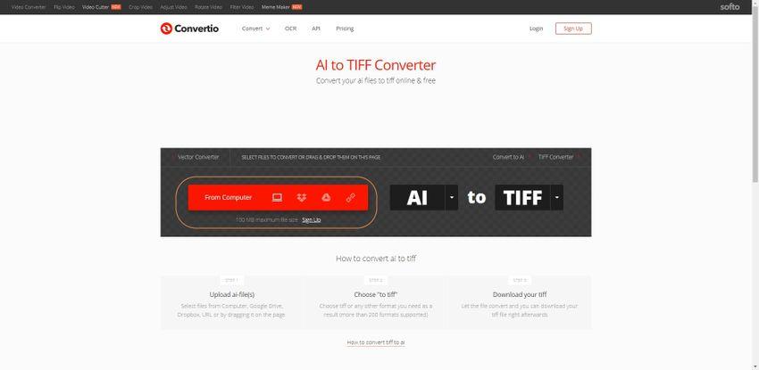 upload AI file to Convertio