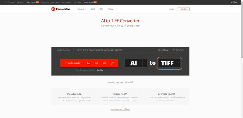 select the output format as TIFF-Covertio