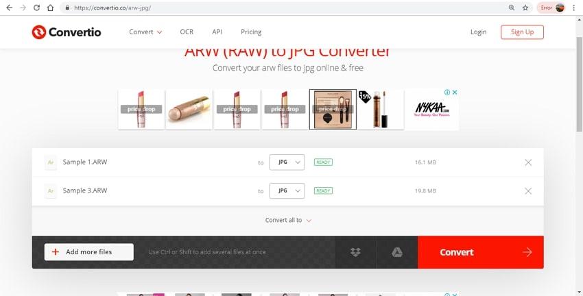 ARW to JPG converter-Convertio