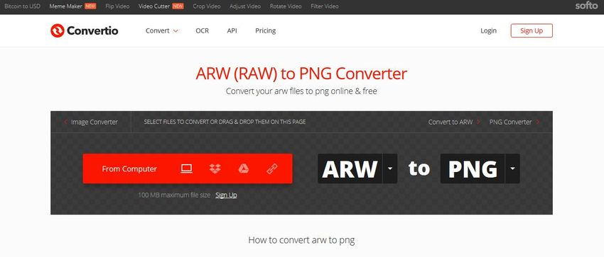 ARW to PNG converter-convertio