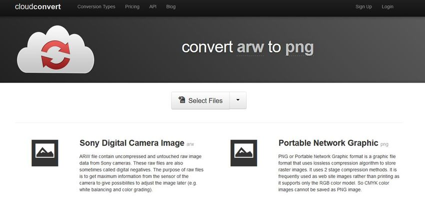 convert ARW to PNG-Cloud Convert