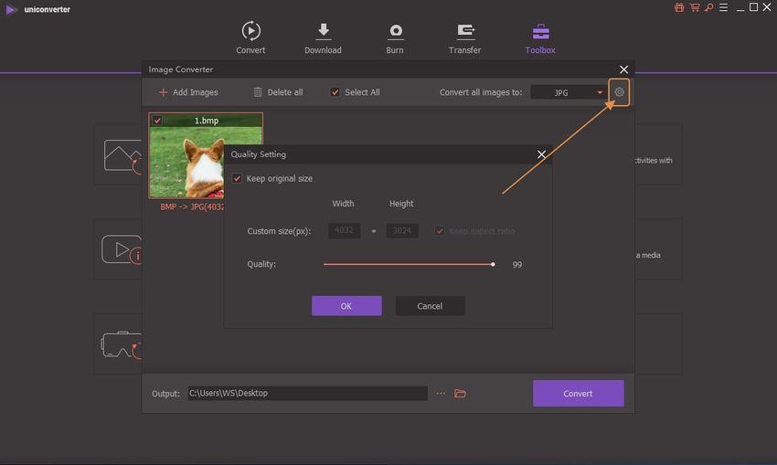 resize BMP image-UniConverter