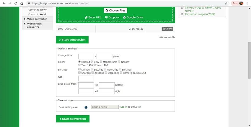 free BMP format convertert-Online Convert