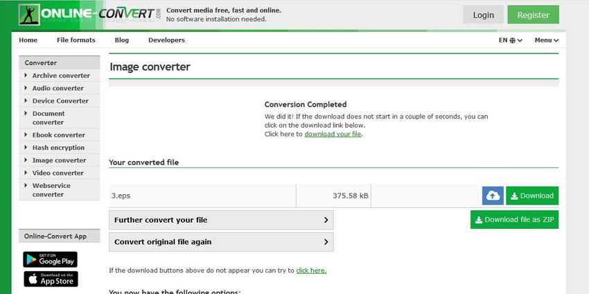 finish convert and download-Online Convert