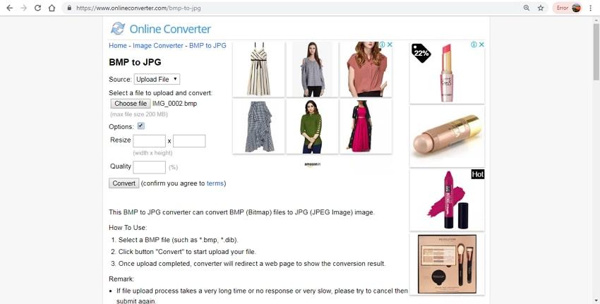 BMP to JPG online converter