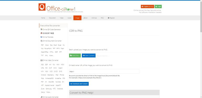 Convert CDR to PNG format in Office-Converter