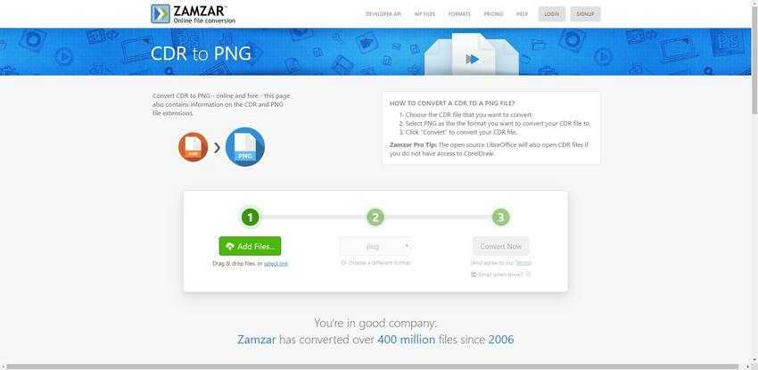 turn CDR file to PNG in Zamzar