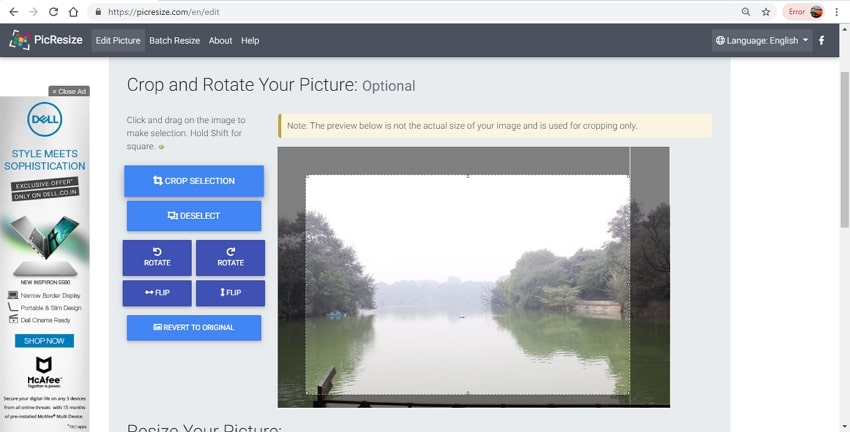 online tool for crop JPG images-PicResize