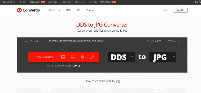 how to convert DDS to JPG-Convertio