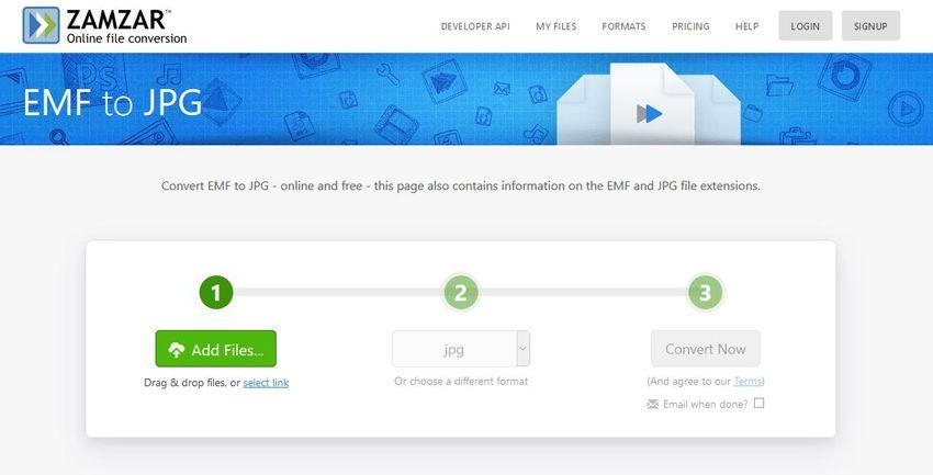 EMF to JPG online converter-Zamzar