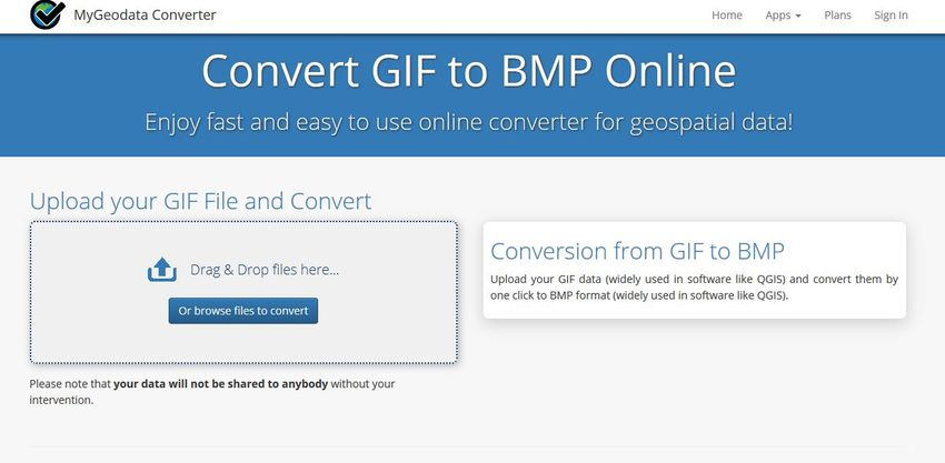 GIF to BMP file-MyGeoDataConverter