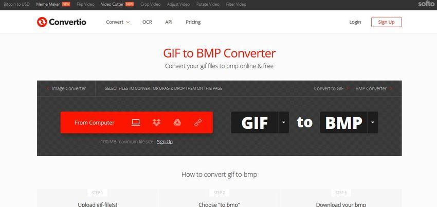 conversion for GIF to BMP-Convertio
