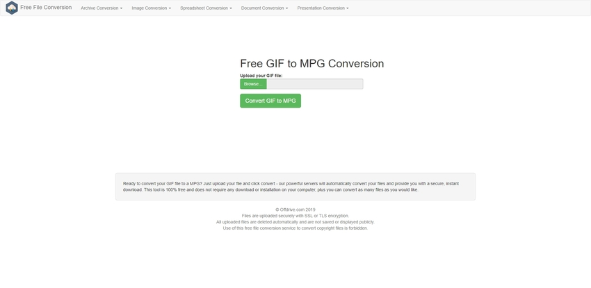 convert GIF to MPG in Free file conversion