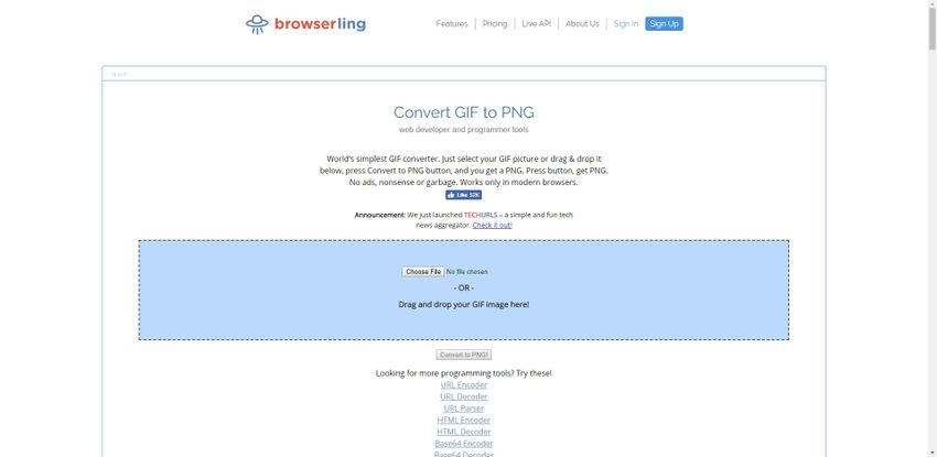 GIF to PNG image format-Browser Ling