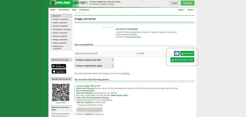 convert and save TIFF-Online Convert