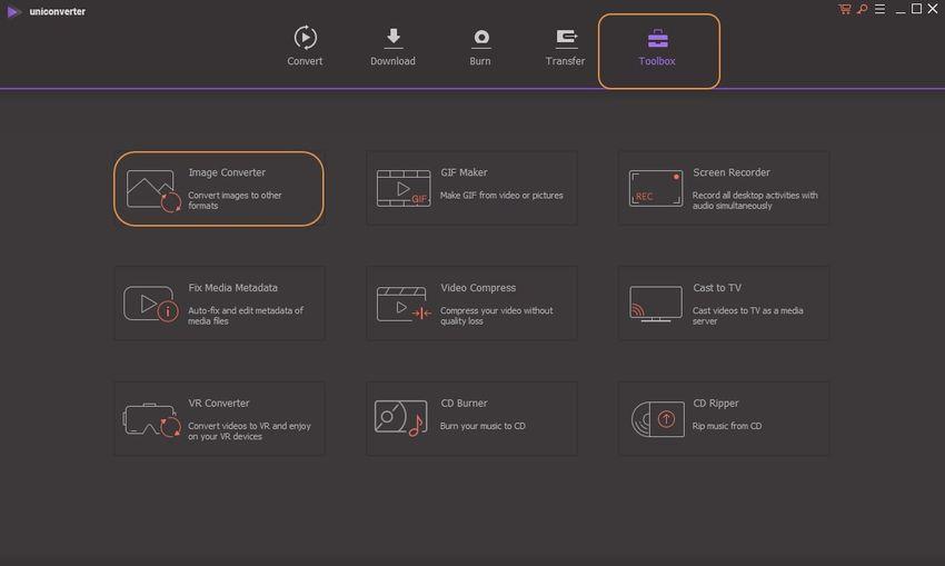 launch UniConvert and choose image converter option