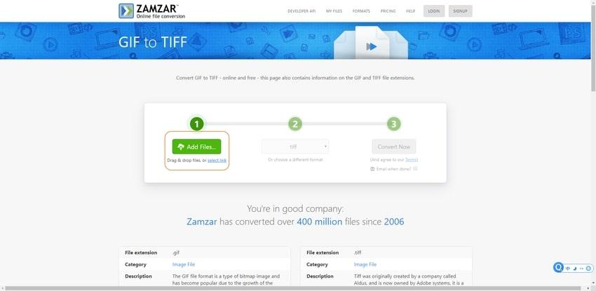 upload a GIF to Zamzar