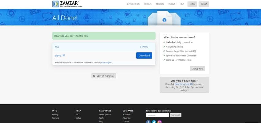 convert and save-Zamzar