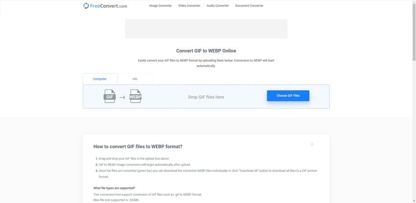 Online Convert GIF to WebP in Freeconvert