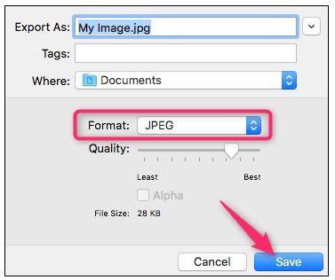 select JPEG format as output
