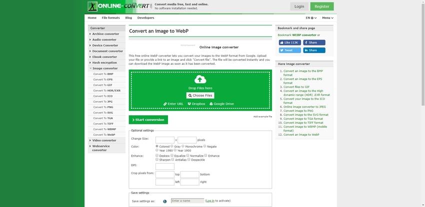 JPEG to WebP in Online-Convert