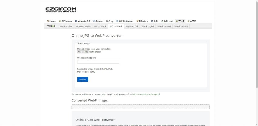 convert JPG to WebP in Ezgif