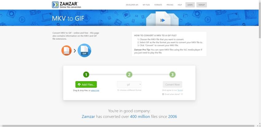 change MKV to GIF format in Zamzar