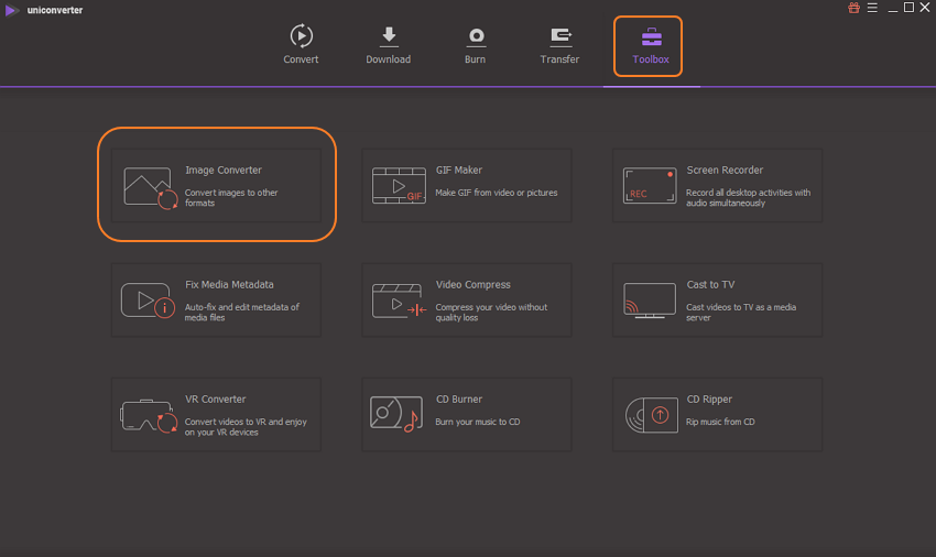 run UniConverter and select toolbox