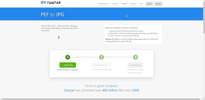 Change PEF to JPEG-Zamzar