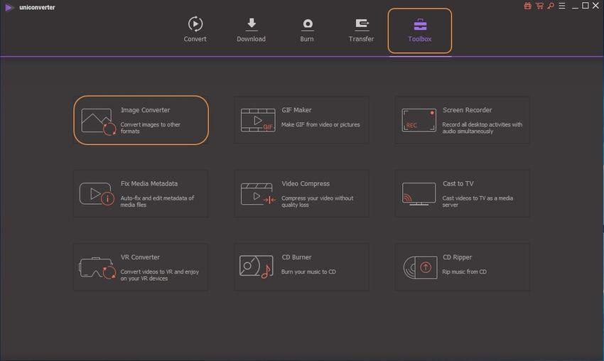 choose Toolbox tab and image converter-UniConverter