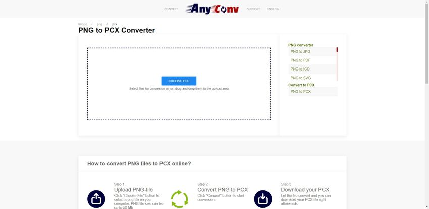 PNG to PCX file converter online-AnyConv