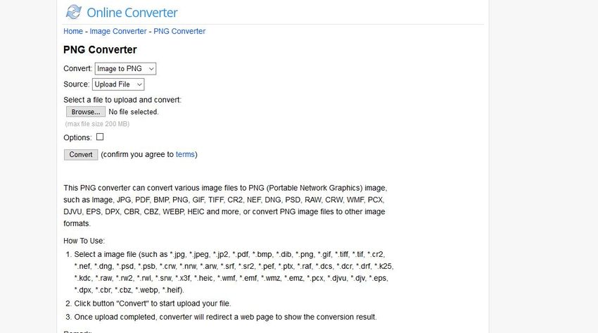 PNG to RAW-Online Converter