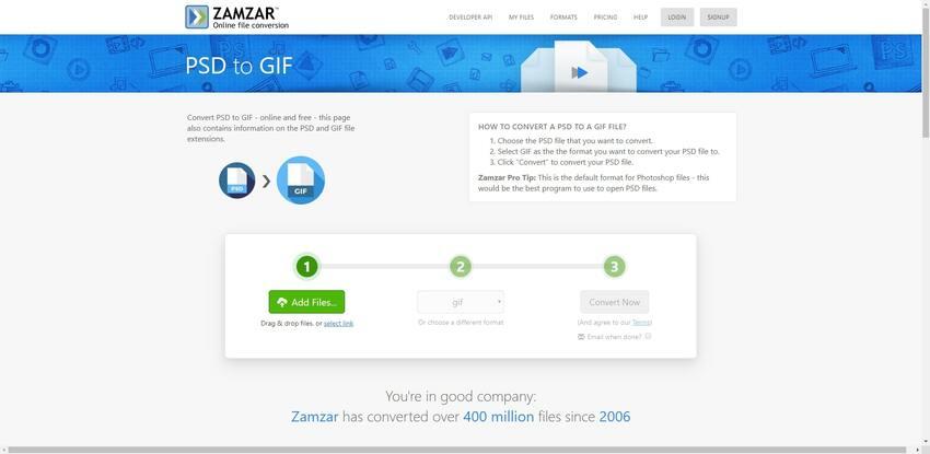 PSD format convert to GIF in Zamzar
