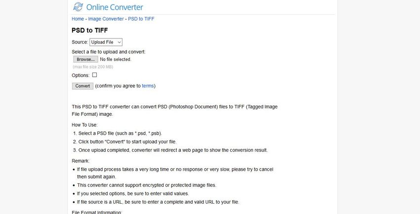 open the Online Converter
