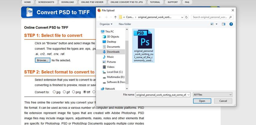 brwose file to PSDViewer