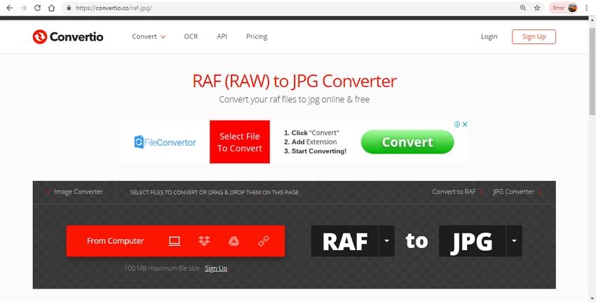 raf file to jpg-Convertio