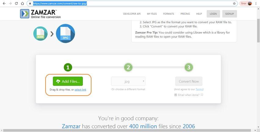 import RAW file-Zamzar