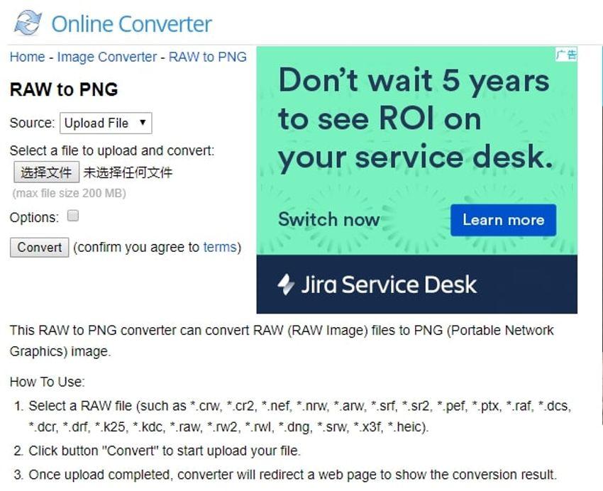 input RAW extension-onlineconverter
