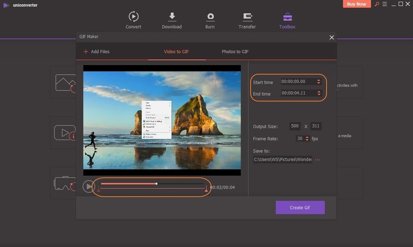 Adjusting GIF Time-UniConverter