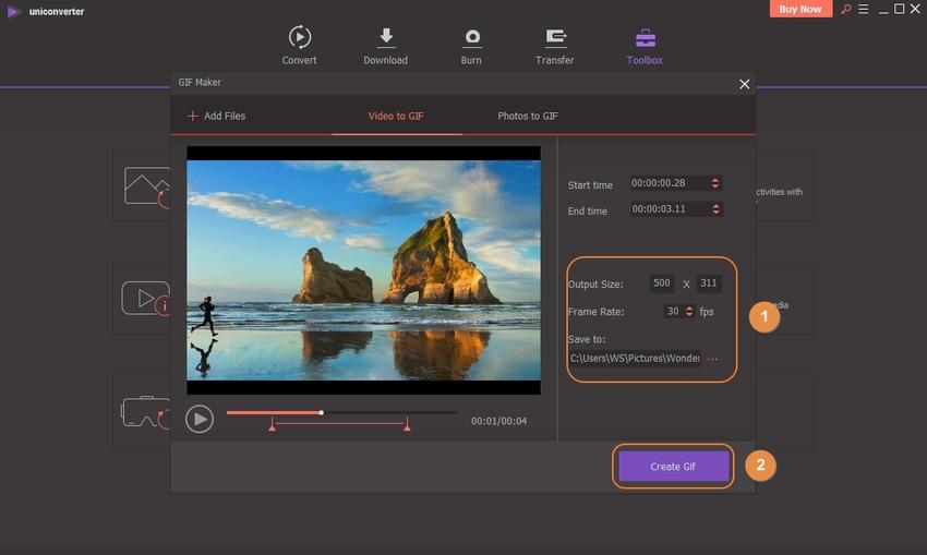 Click Creat GIF button in UniConverter