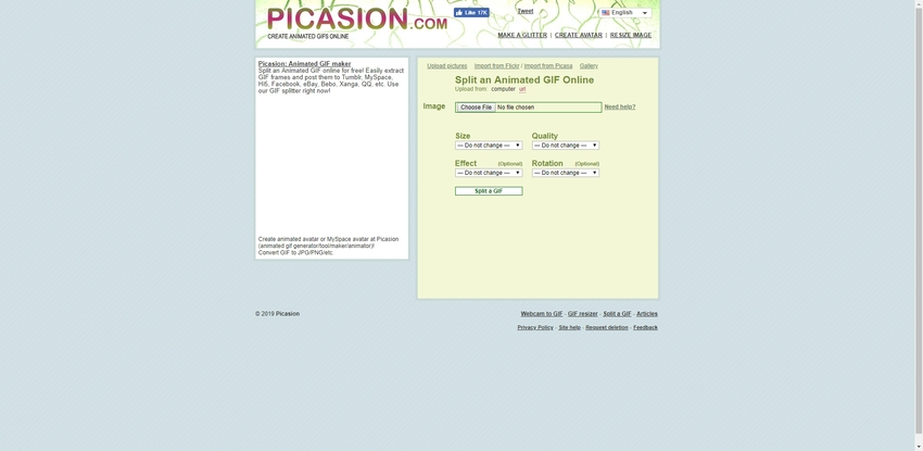 split a GIF file in Picasion
