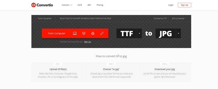 convert TTF to JPG-Convertio