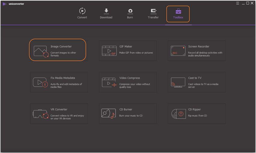 launch UniConverter image converter