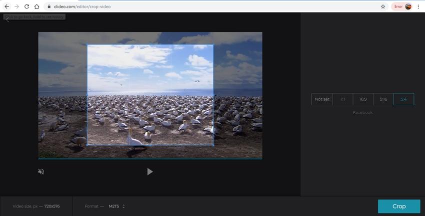 crop video online-Clideo