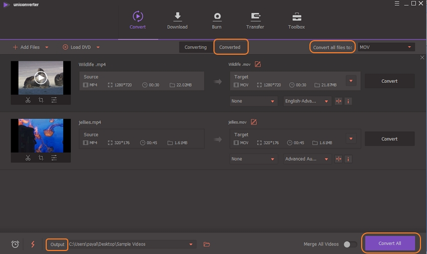 convert, edit and save the video change in UniConverter