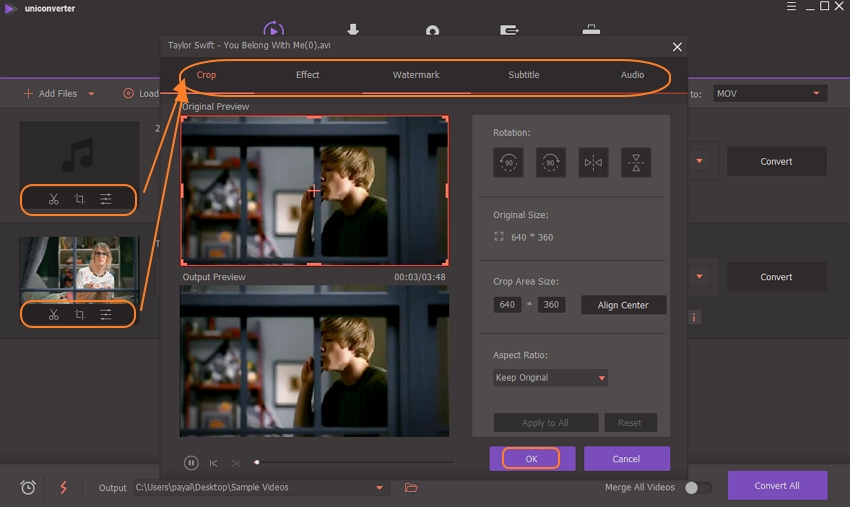 click edit icons to edit your video in UniConverter
